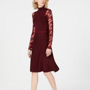 I.N.C. Lace-Sleeve Sweater Dress